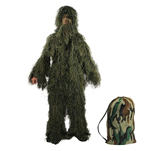 TargetEvo Hunting Ghillie Suit Desert/Woodland Camouflage Clothing includes Jacket Trousers Hood Gun Wrap Drawstring Bag in 5-Piece for Airsoft Halloween Prank