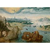 Canvas Prints Of Oil Painting 'Herri Met De Bles,Saint John On The Island Of Patmos,1535-1550' 18 x 25 inch / 46 x 64 cm , Polyster Canvas Is For Gifts And Basement, Foyer And Gym Decoration, sale