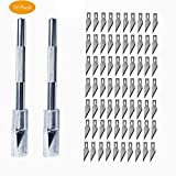 Precision Craft Knife Set, Kokome Professional Cutter Utility Knife 2PCS Sharp Pen Knife with 72 PCS Replacement Stainless Steel Blades for Art & Crafts, Scrapbooking and Sculpture