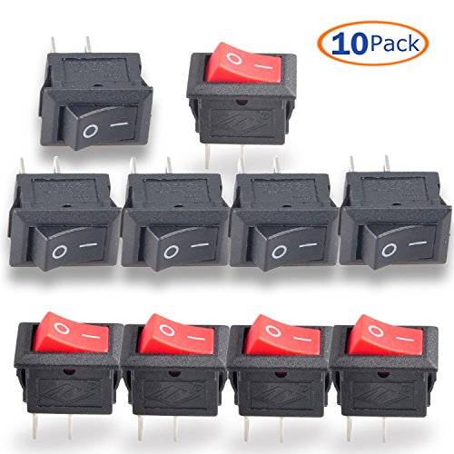 Switch Plastic Housing Toggle (Conwork 10pcs SPST Type 2 Pin 2 Position ON/OFF Boat Rocker Switch 6A/125V 3A/250V AC for Truck Boat -Red)