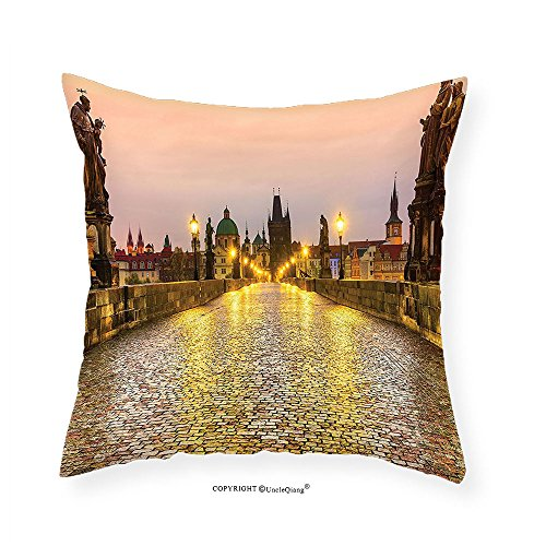 n Linen Pillowcase Apartment Decor Charles Bridge and Old Town in Prague Czech Republic with Classic Medieval Buildings Bedroom Living Room Dorm Decor Gold Brown 26