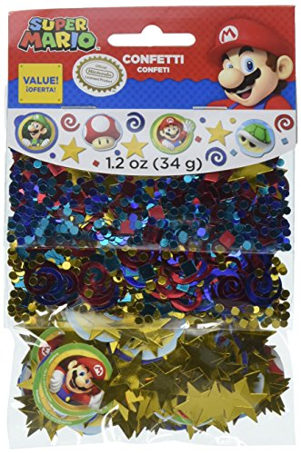 Amscan Super Mario Brothers Birthday Confetti Mix Decoration Party Supplies , Multicolor, 12 Pieces by Amscan