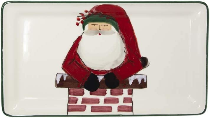 Vietri Old St. Nick Rectangular Platter Coming Out of the Chimney, NEW AND EXCLUSIVE 2019 DESIGN