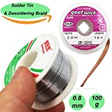 Soldering Tin Lead Rosin core Solder Wire(0.8mm/100g) and Desoldering Braid(2mm/1.5m) Solder Remover Copper Wick Spool Wire Cable for Electrical DIY Soldering