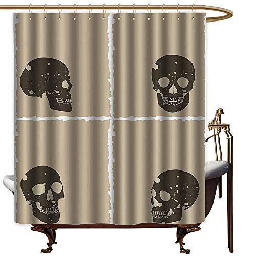 Godves Hotel Style Shower Curtain,Grunge Skull Figure on Murky Flat Framework Halloween Crossbones Spooky Monster Image,Art Print Polyester,W47x63L,Tan Dark Taupe