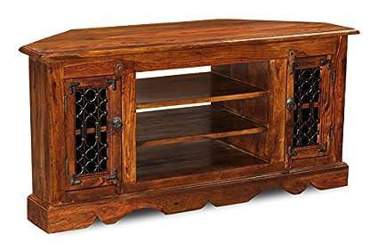 Amazon.com: Jali Sheesham Furniture Corner TV Unit - Living Room ...
