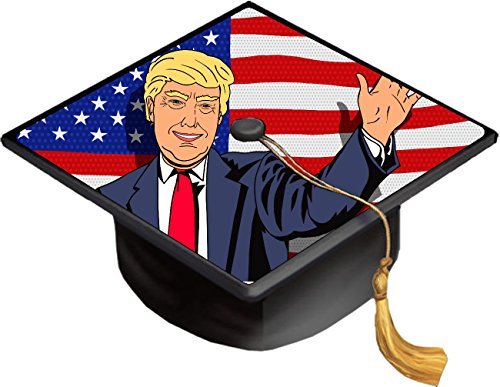 American Flag Caricature Cartoon President Caricature Grad Cap Decal - Vinyl Sticker Skin for Graduation Caps]()