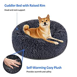 "FOCUSPET Dog Bed Cat Bed Donut, Pet Bed Faux Fur Cuddler Round Comfortable Size Medium 24"" & Large 32"" Ultra Soft Calming Bed for Dogs and Cats, Self Warming Indoor Sleeping Bed"