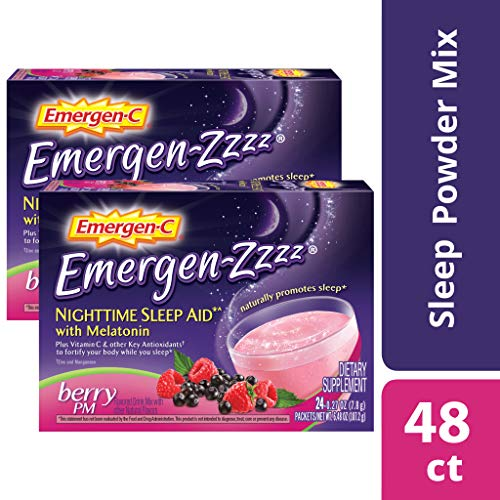 Emergen-Zzzz (48Count, Berry Flavor) 500mg Vitamin C Dietary Supplement Sleep Aid with Melatonin, 0.27 oz Powder Packets (Best Vitamins For Sleep)