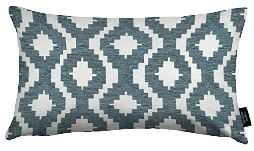 McAlister Textiles Arizona Filled Pillow Wedgewood Blue Chevron Aztec Geometric Decorative Throw Scatter Sofa Cushion Sham Size – 16 x 24 Inches