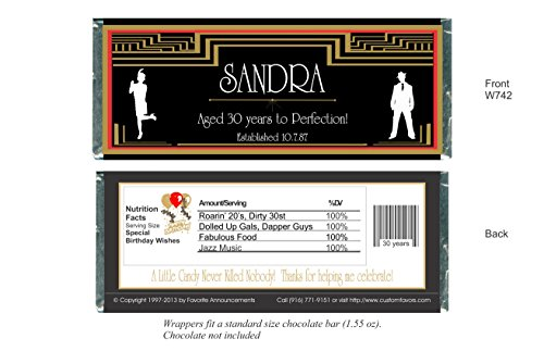 Art Deco Birthday Party Favors, Roaring 20s, Candy Bar Wrappers, fits a chocolate bar, Personalized (set of 12)(W742)