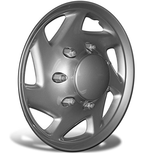 [Hubcap for Ford Cargo Vans E150 E250 E350 Econoline / F150 F250 F350 (Single Piece) Wheel Cover - 16 Inch Silver Replacement] (1991 Ford Econoline Van)