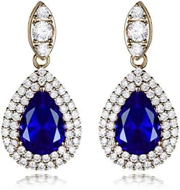 GULICX Teardrop Gold Tone Drop Earrings Pierced Diamante Jewelry Earrings Made with Zircon Crystals