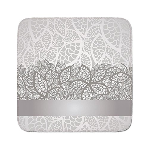 Cozy Seat Protector Pads Cushion Area Rug,Silver,Lace Inspired Flower Motifs Bridal Composition Stylized Leaves Wedding Theme Decorative,Gray Silver White,Easy to Use on Any Surface -