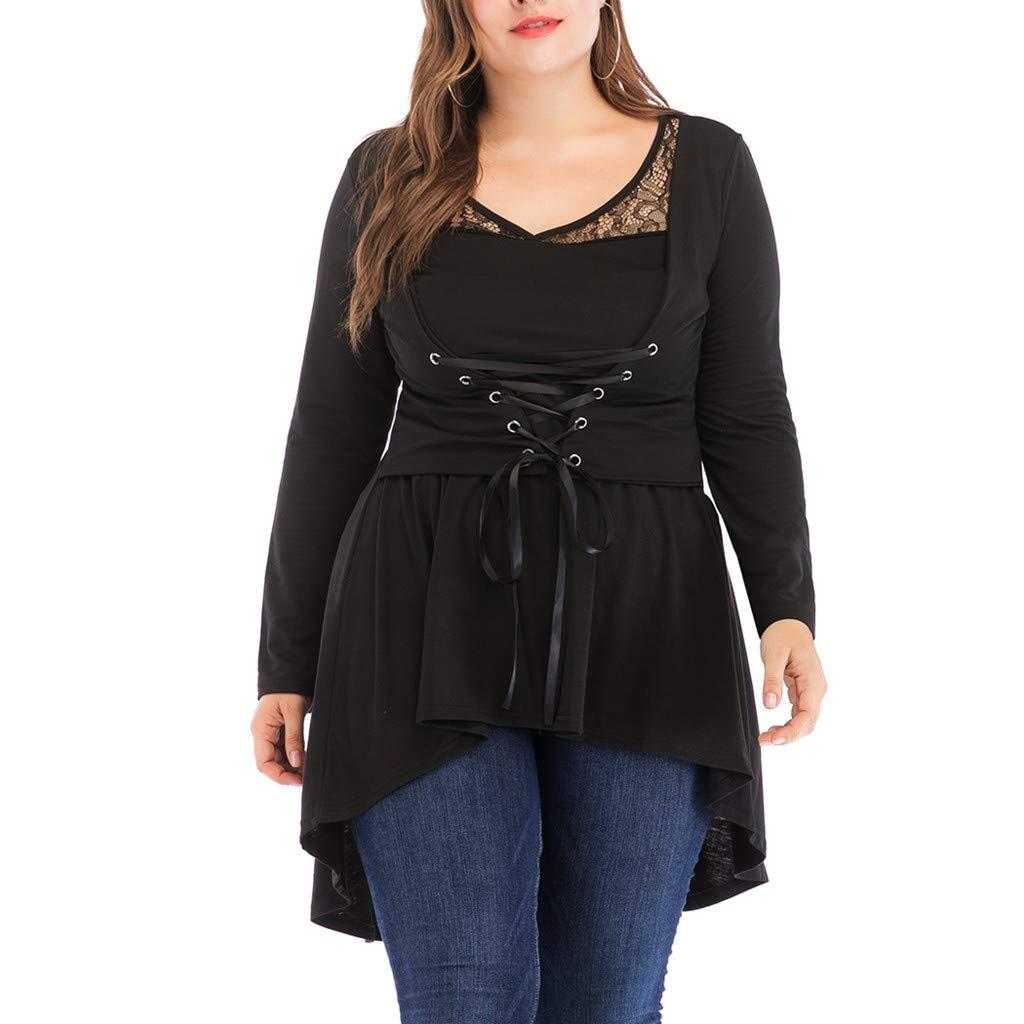 Women Bandage High Waist Long Sleeve Lace Floral Patchwork Irregular Hem Mini Dress Blouse Plus Size Tops (Black,5XL)