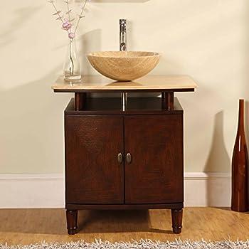 Silkroad Exclusive Modern Sink Vessel Bathroom Vanity With Powder Room Cabinet 29 Inch