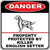Danger Property Protected Killer English Setter Dog Crossing Metal Novelty Sign