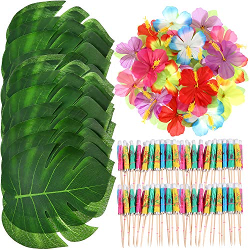 Shappy 98 Pieces Hawaiian Luau Theme Party Decorations, Including 24 Pieces Tropical Palm Leaves, 24 Pieces Luau Flowers and 50 Pieces Multi-Color Umbrellas ()