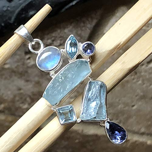 Natural Aquamarine, Rainbow Moonstone, Blue Topaz, Iolite 925 Sterling Silver Stunning Cluster Pendant 50mm Long