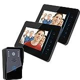 """iBaste 7"""" TFT 2.4G Wireless Video Door Phone Intercom Doorbell Home Security 1 Camera 2 Monitor"""