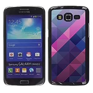 Be Good Phone Accessory // Dura Cáscara cubierta Protectora Caso Carcasa Funda de Protección para Samsung Galaxy Grand 2 SM-G7102 SM-G7105 // polygon purple blue pink pattern 3d