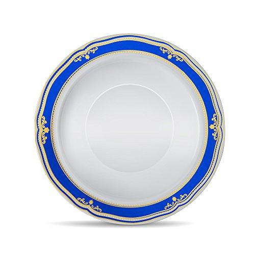 [40 Count - 5oz Bowls] Laura Stein Designer Tableware Premium Heavyweight Plastic White Dessert Bowl With Blue & Gold Border Plastic Party & Wedding Plate Cobalt Blue Series Disposable Dishes