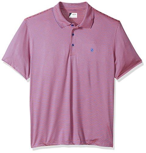 IZOD Men's Performance Golf Greenie Stripe Polo, Pink Lemonade, (Stripes Lemonade)