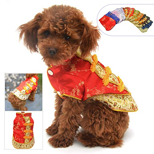 Lovelonglong 2019 Dog Costumes Cheongsam Qipao Dresses for Small Dogs Pet Tang Dynasty Costume for Pomeranian Papillon S Red -