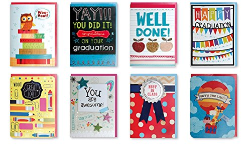 B-THERE Assorted Handmade Embellished Congratulations Graduation Greeting Cards Boxed, Designs Congrats Grad for Him or Her Elementary, Set of 8