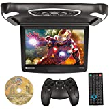 Rockville RVD15BGB Black/Grey/Tan 15'' Flip Down Car Monitor w DVD/HDMI/Games/USB