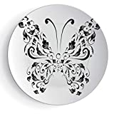 7'' Ceramic Plates Butterfly 3D Print Ceramic Decorative Plate Silhouette of Moth with Swirl Floral Blossom Line Spirit Animal Illustration