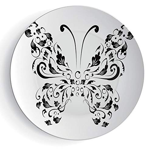 7'' Ceramic Plates Butterfly 3D Print Ceramic Decorative Plate Silhouette of Moth with Swirl Floral Blossom Line Spirit Animal Illustration by iPrint