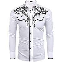 JINIDU Men's Long Sleeve Shirt Embroidery Slim Fit Casual Button Down Retro Shirts