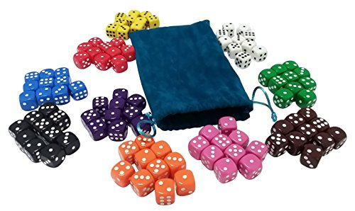 Visual Elite 100 Solid Colored Dice Set (Deep-Sea Corals Collection) with Dice Bag (Dice Solid)