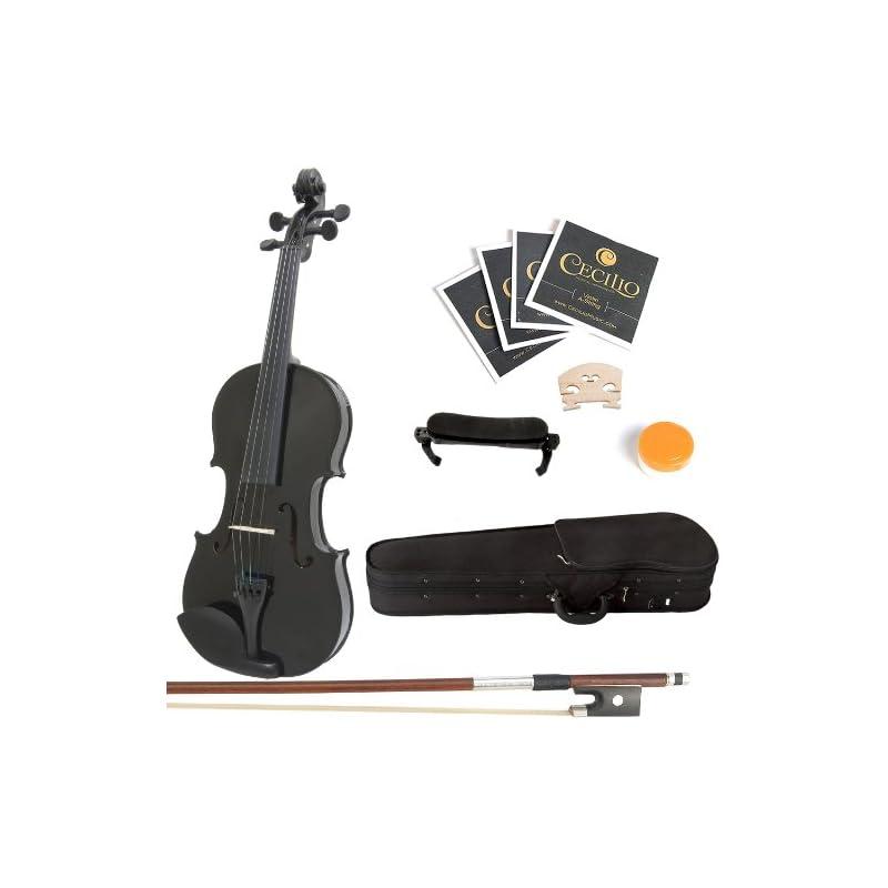 Mendini 4/4 MV-Black Solid Wood Violin w