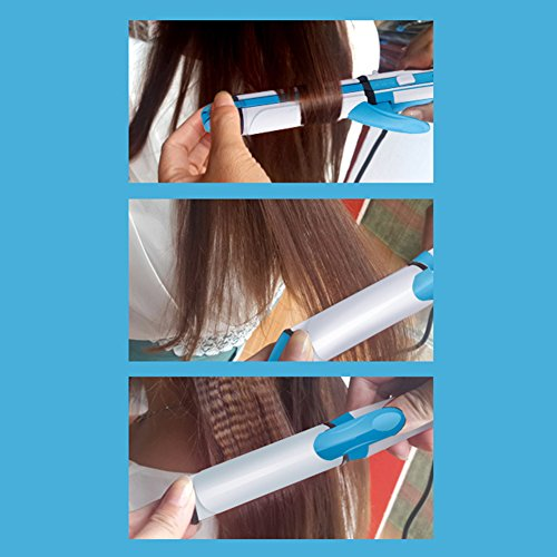 Curling Tongs Ceramic 3 In 1 Hair Straightener And Curling Iron Multifunctional 200ºC Constant Temperature For Travel Or Home Use Portable HMYH,Blue by Hair Styling (Image #1)