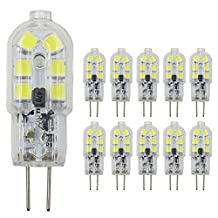 Dayker G4 LED Light Bulb 2W Jc Type Bi-pin Base 15W Halogen Replacement Daylight for Ceiling Lights, Accent Lights, Puck Lighting(10 Pack)
