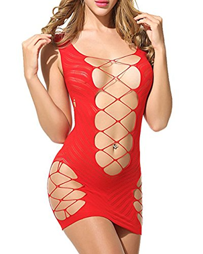 Sexy Hot Red Dress (like & love it Womens Sexy Lingerie Babydoll Hot Fishnet Chemise Mesh Mini Dress (Red))