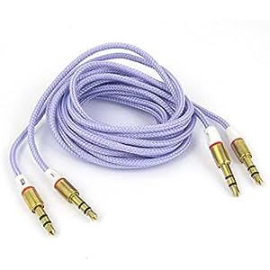 3,5 mm macho a macho cubierta con camisa de nylon Cable de audio 5FT 2pcs púrpura