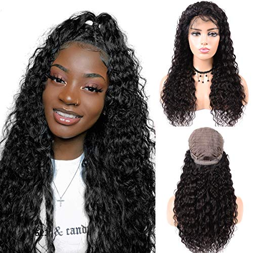 Kreesi Glueless Lace Front Wigs Brazilian Deep Wave Human Hair Wigs with Baby Hair Natural Hairline Lace Front Human Hair Wigs For Black Women 150% Density