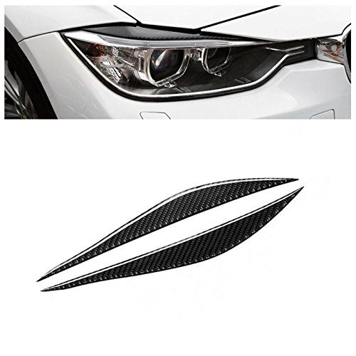 (Carbon Fiber Headlights Eyebrows Eyelids for BMW 3 Series F30 320i 325i 316i Front Headlamp Eyebrows Stickers)