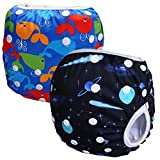 Storeofbaby 2pcs Swim Diaper Swimsuit Baby Reusable Adjustable Infant 0 3 Years (Pack of 2)