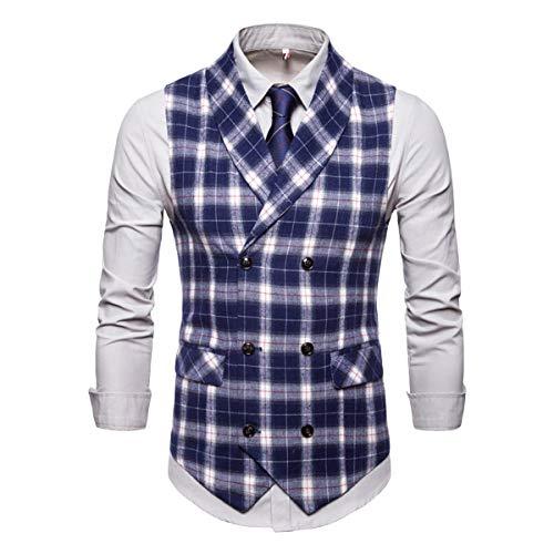Men's Plaid Tweed Suit Vest Double-Breasted Casual Waistcoat Shawl Lapel Business Suit Vest Blue ()