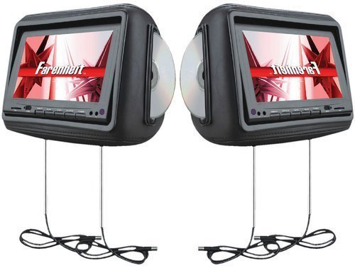 Farenheit HRD-9GRDK Pre-Loaded Universal Headrest DVD/Monitor Combination with Headphones - Dark (Farenheit Wireless Headphones)