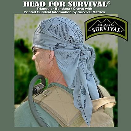 Cravat with Survival Information TACTICAL Head for Survival Triangular Bandana