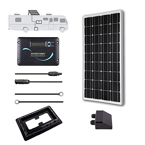 Renogy 100 Watts 12 Volts Monocrystalline Solar RV Kit -- with Adventurer Negative Grounded Controller & Corner Bracket Mounts