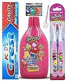 Shopkins Bright Smile Oral Hygiene Bundle! Shopkins 2 Pack Manual Toothbrush, And Crest Kids Sparkling Toothpaste Bundle! Plus Bonus Flosseers Tooth Necklace as Visual Aid Reminder!