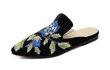 GLTER Femmes Mules Chaussures 2017 Nouvelles Européennes Et Américaines Mode Broderie Fleurs Half Dragging Talons Pompes Bateau Chaussures Court Chaussures , black , 40