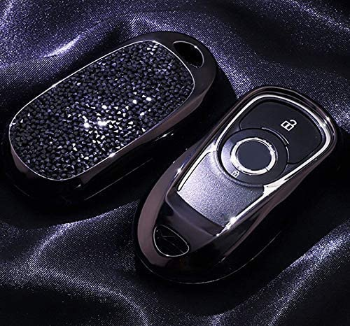 2 3 4 5 Buttons 3D Bling Smart keyless Entry Remote Key Fob case Cover for Buick Verano Regal Lacross Encore Envision Enclave GL8 2015 2016 2017 2018 Accessories Black