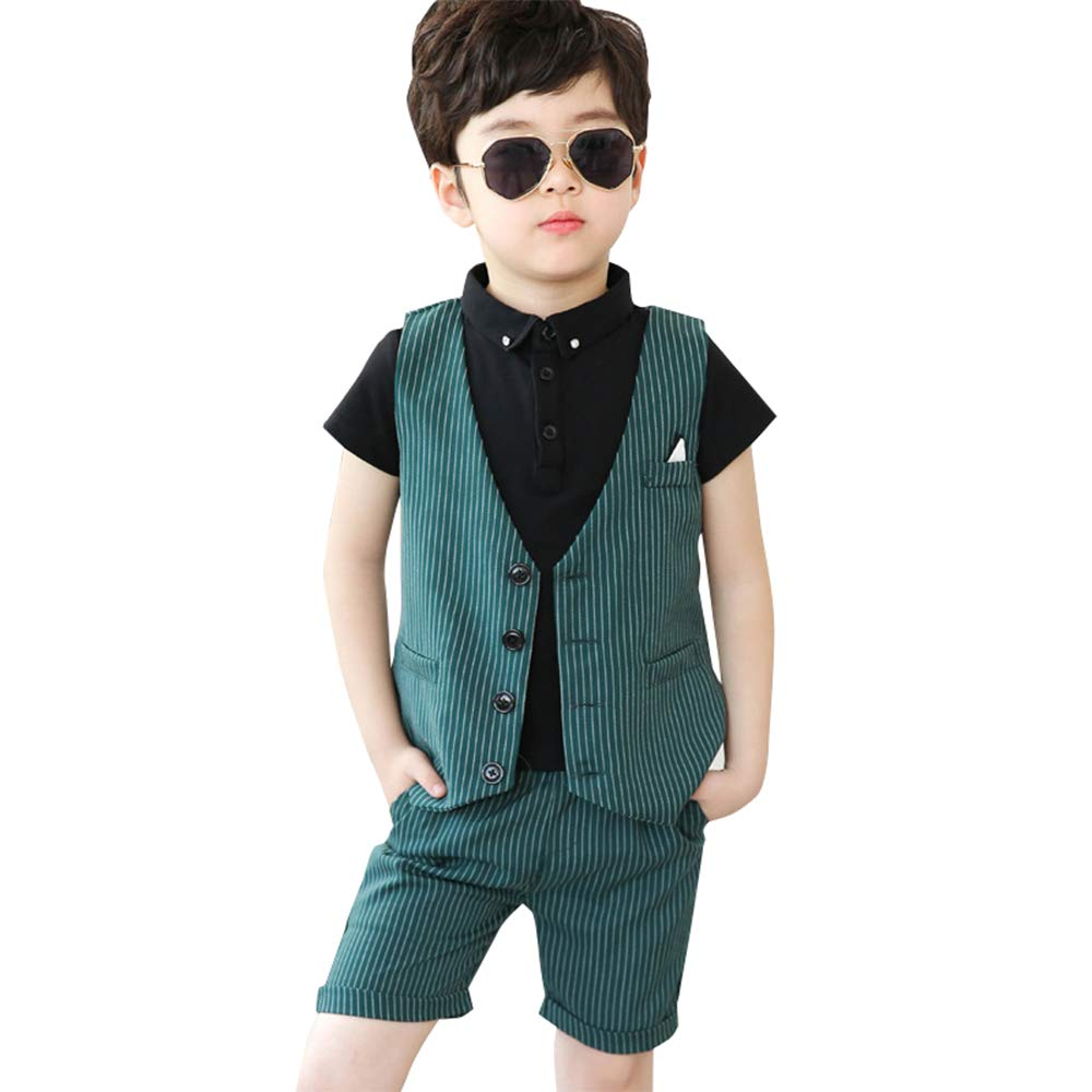3-8Years DAZISEN Boys Waistcoat Suit Formal Outfits Summer Suit with Shorts